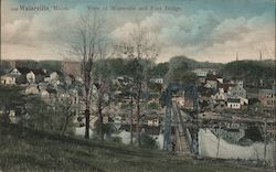 View of Waterville and Foot Bridge Postcard
