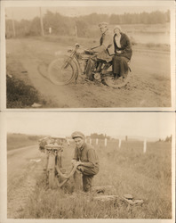 Set of 2: Man & Woman with Indian Motorcycle Postcard