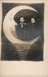 Paper Moon Couple Posing on Water with Crescent Moon Postcard