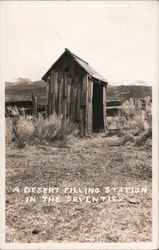 A Desert Filling Station in the Seventies Postcard