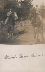 "Women on Horseback ""Elwood Bronco Busters"" Postcard"