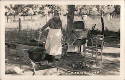 """Making Soap"" A Woman Standing over an Outdoor Kettle Postcard"