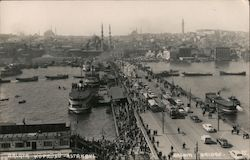 Bird's Eye View of Galata Bridge Postcard