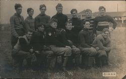 Ithaca High School Football 1907 Postcard