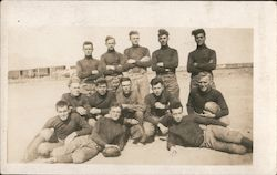 Early Football Team by Railroad Tracks Postcard