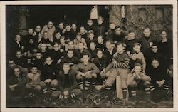 College or High School Football Team, One Black Player Postcard
