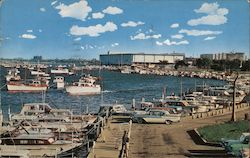 Burnham Park Yacht Harbor showing McCormick Place, showing world's largest convention center Postcard