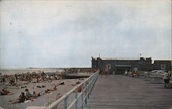 View of Scarborough State Beach from Boardwalk, Point Judith Postcard