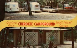 Greetings From Cherokee Campground, Jekyll Island, Georgia Postcard
