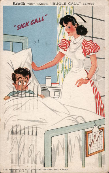 Sick call, Nurse and sick boy Comic, Funny