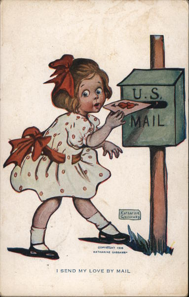 I Send My Love By Mail - Girl Mailing Card with Hearts