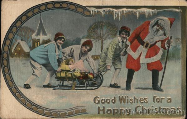 Good wishes for a Happy Christmas - Santa pulling a sled with children