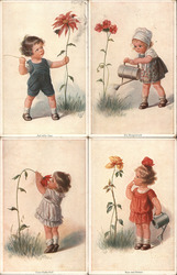 Set of 4: German Children with Flowers Postcard