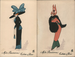 Set of 2: Art Deco Glamor Women Postcard