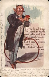 A Man with Devil Horns Holding a Book Postcard