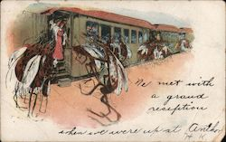 We met with a grand reception - mosquitoes meeting train at station Postcard
