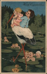 Hearty Congratulations -- Babies Riding a Stork Postcard