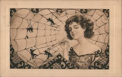 Portrait of Woman in Two Heart Shaped Spider Webs with Men Trapped in Web Postcard