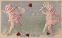 To My Love -- Two Cupids Playing Tennis Postcard
