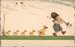 Boy Tooting Horn Is Followed By Duck And Four Ducklings