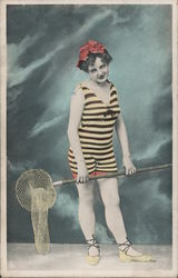 Bathing Suit lady with a net Postcard