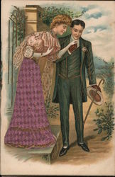 Old fashioned couple courting at an entry gate Postcard