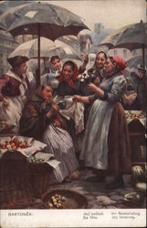 A Group of Women Drinking Coffee Outside Under Umbrellas Postcard