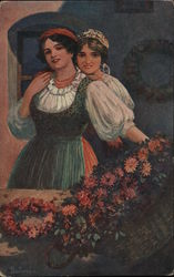 Two Czech girls in native dress with basket of flowers Postcard