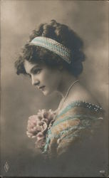 PFB - Photo portrait of young woman - tinted Postcard