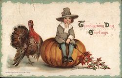 Thanksgiving Day Greetings - Boy sitting on pumpkin next to turkey Postcard