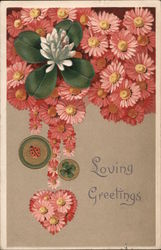 Loving Greetings - Flowers, Ladybug, and Four Leaf Clover Postcard