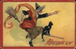 Hallowe'en - Witch riding Broom with Black Cat Postcard