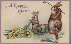 Happy Easter - Rabbits golfing with easter eggs Postcard