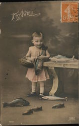 April First - Child with fish Postcard