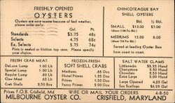 Milbourne Oyster Co. - Seafood prices - oysters, crabs, clams