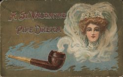 A St. Valentine pipe dream - pipe blowing smoke around the picture of a woman Postcard