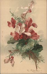 Bouquet of red, white and green flowers Postcard