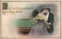 I'm Not Lonesome By A Long Shot - Man and Woman Kiss At Pool Table Postcard