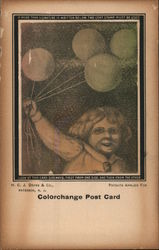 A Young Girl Holding a Balloon Colorchange Post Card Postcard