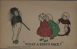 What a dirty face - chimney sweep boy with 3 little girls Postcard