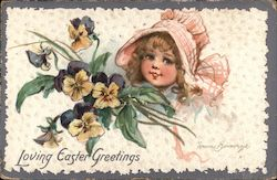 Loving Easter Greetings - little girl in a bonnet with violets Postcard