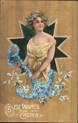 Best wishes for Easter - woman holding a blue flower anchor standing in front of a star Postcard