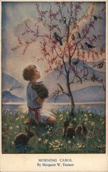 A Young Boy Holding a Rabbit Looking into a Tree with Birds Postcard