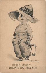 Honor Bright - Guilty little boy with slingshot Postcard