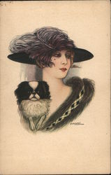 Woman Wearing a Hat and Holding a Dog Postcard