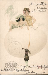 Two Women Hiding Behind an Egg and a Rabbit Postcard