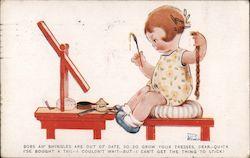 A Little Girl Sitting in Front of an Easel Holding a Paintbrush Postcard
