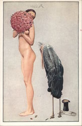 Naked woman and a bird Postcard