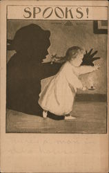 Child making large shadow on a wall with a candle Postcard