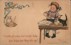O, queen of cooks, your comely looks And dishes, how they stir me! Postcard